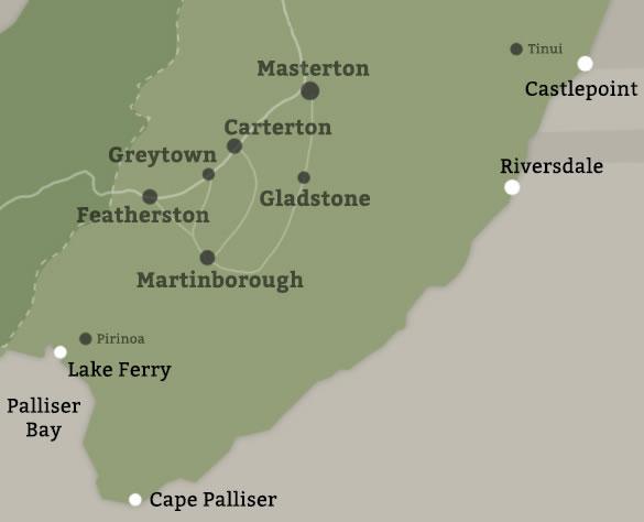 Wairarapa New Zealand Map.Coastal Areas Tourism Information From Destination Wairarapa