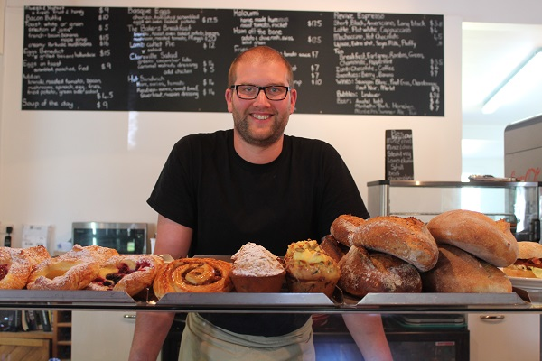 Mike of Clareville Bakery in Carterton and his bakers delights!