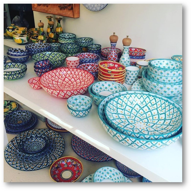 The stunning colours of handpainted ceramics at Oggi Domani