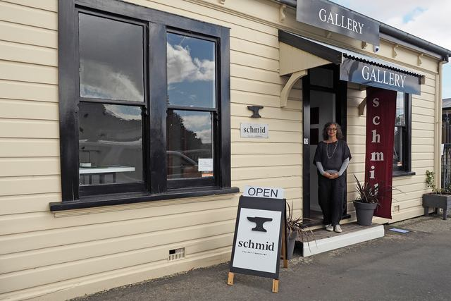 Sandra outside her gallery in Martinborough