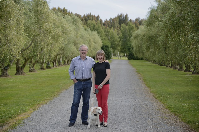 John and Helen of Olivo, with Sophie the beagle