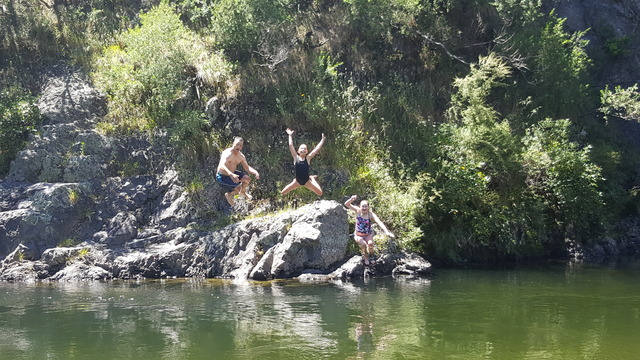 Rock jumping at Bucks Road, Featherston