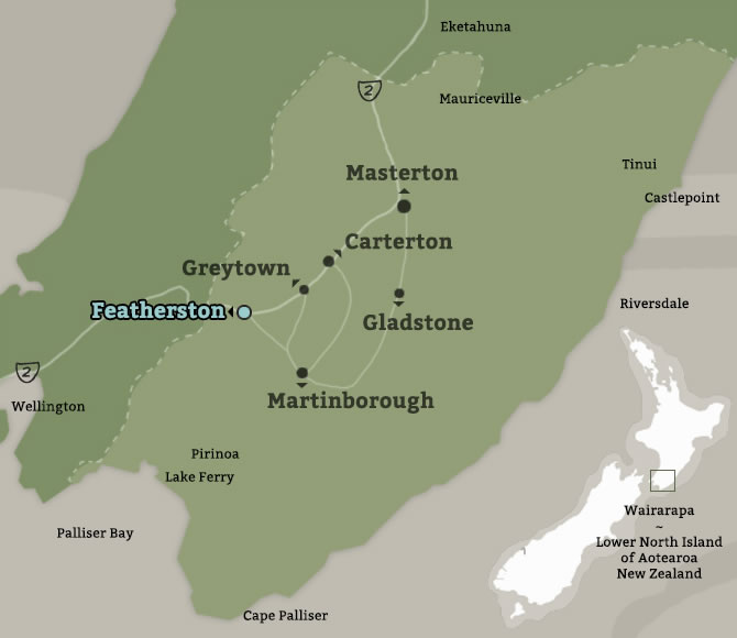 Map of Featherston, Wairarapa