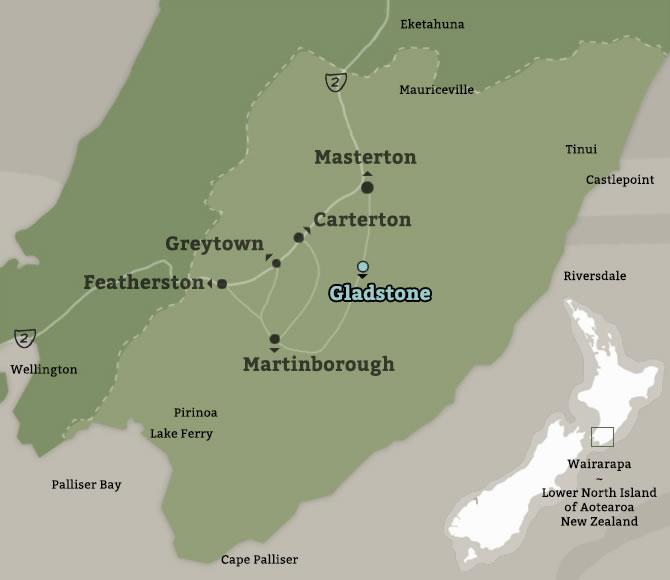 Map of Gladstone, Wairarapa