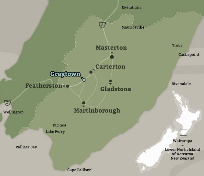 Map of Greytown, Wairarapa